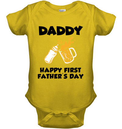 Happy First Father's Day Drinking Buds Onesie Gift For New Dad