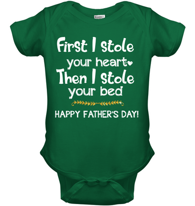 First I Stole Your Heart Then Bed Onesie Gift For New Dad