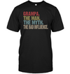 Grampa The Man The Myth The Bad Influence Tshirt Gift For Father's Day