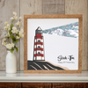 Personalized Map Lighthouse Shinning Anniversary Square Poster