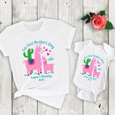 Our 1st Mother's Day Llama Shirts - Mom And Baby Shirt Gsge