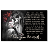 Romantic Gift Skull Flower I Love You The Most Poster Canvas Couple Gift For Her For Him