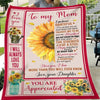 G1 Daughter To Mom You Are Appreciated Sunflower Blanket