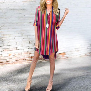Deep V-Neck Color Block Striped Roll-Up Sleeve Casual Dresses