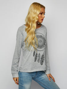 Solid Color Round Neck Print Long Sleeve T-shirt