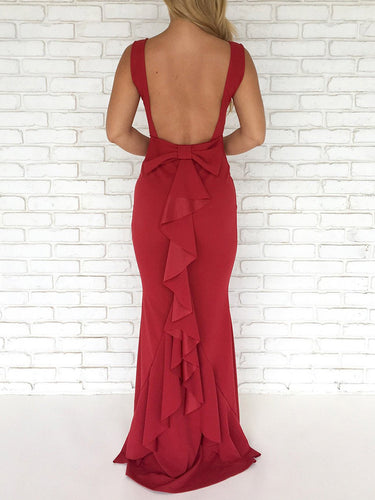 Solid Color Backless Bow Maxi Dress