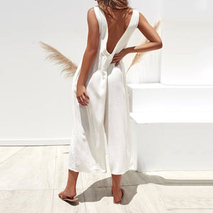 Sexy Backless Lose Wide Leg Jumpsuits Dress