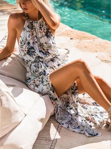 Halter High Slit Floral Sleeveless Maxi Dresses