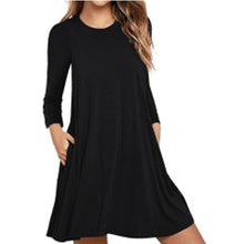 Round Neck  Patch Pocket  Plain Casual Dress