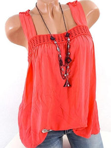 Women Decorative Lace  Hollow Out Plain Sleeveless T-Shirts