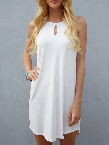 Solid Color Halter Milk Silk Sling Sleeveless Dress