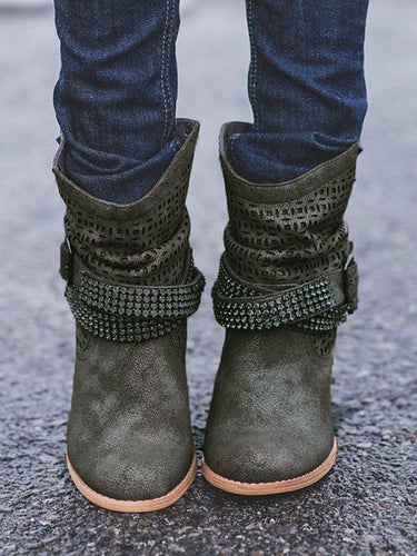 Studded Strap Buckle Heeled Boots