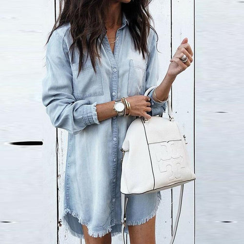 Turn Down Collar Asymmetric Hem Plain Long Sleeve Denim tops
