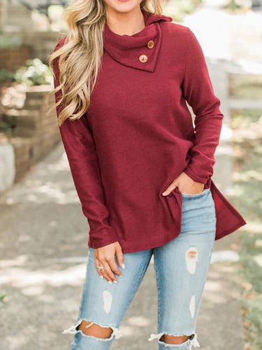 Long Sleeve High Collar Solid Color Sweater