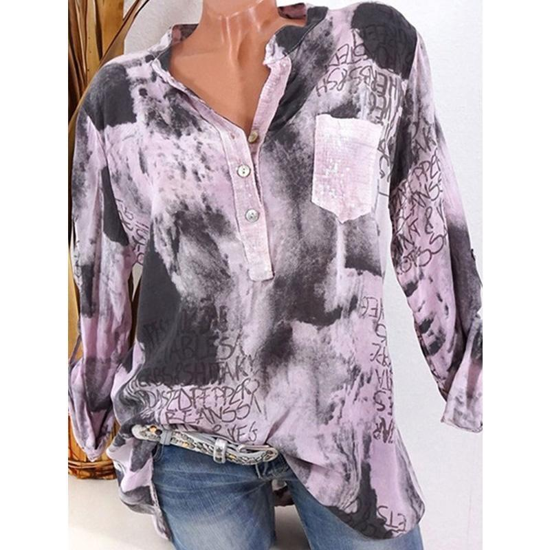 Women V-Neck Patch Pocket Button Long Sleeve Blouses