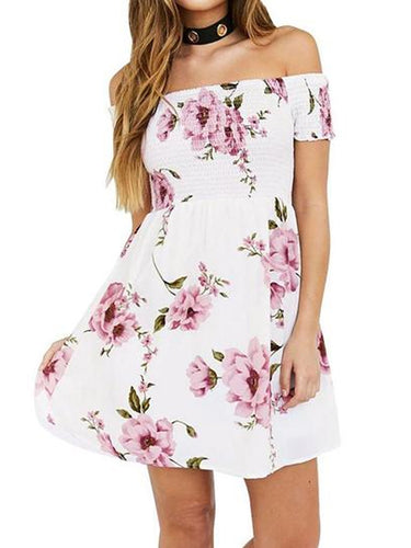 Off Shoulder Smocked Bodice Floral Printed Dress