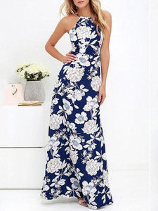 Halter Backless Floral Maxi Dresses