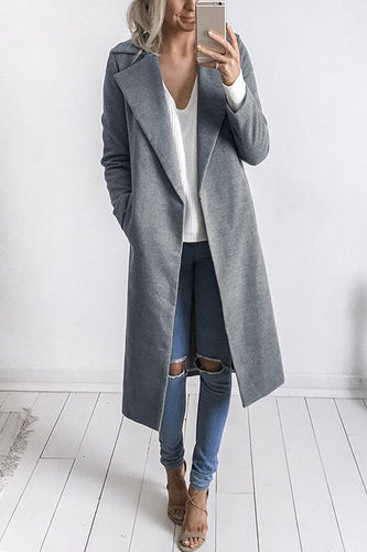Fold-Over Collar  Snap Front  Plain Coats