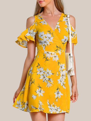 Open Shoulder Floral Printed Skater Dress