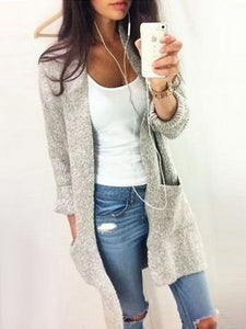 Plain With Pockets Collarless Cardigan