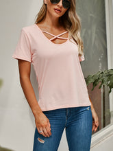 Solid Color Deep V-Neck Rope T-Shirt