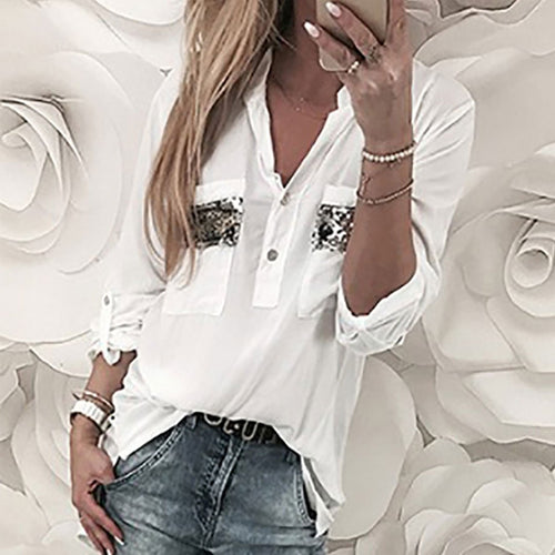 Solid Color V-Neck Sequined Pocket Loose Blouses