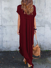 V-Neck  Slit  Solid Color Maxi Dress
