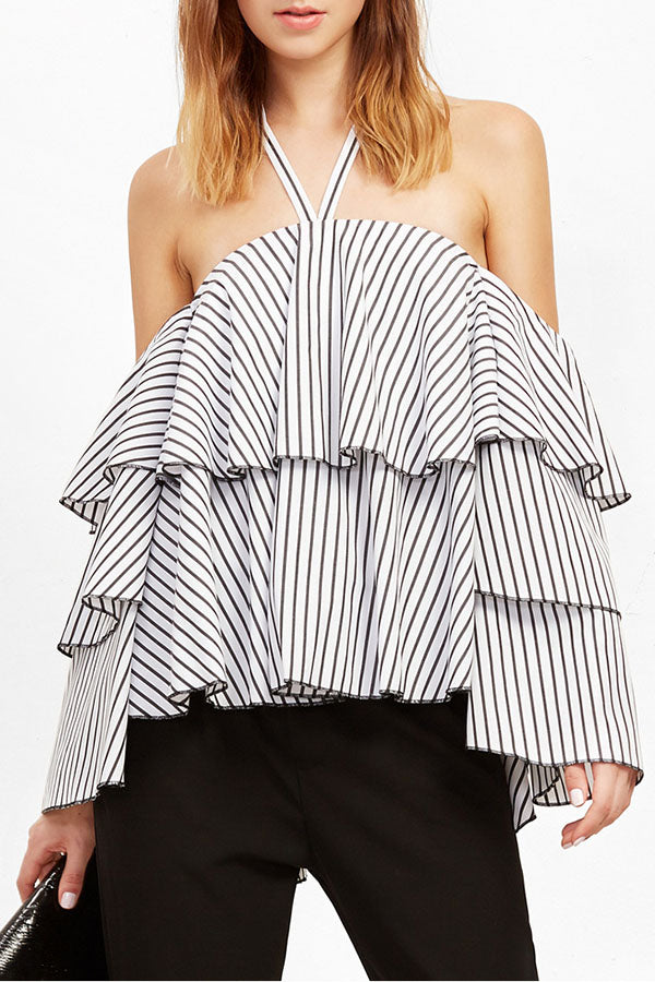 Halter  Backless Flounce  Tiered  Stripes Blouses