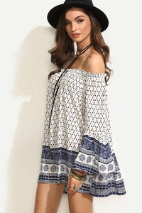 Off Shoulder Bell Sleeve Smocked Bodice Printed Casual Dresses