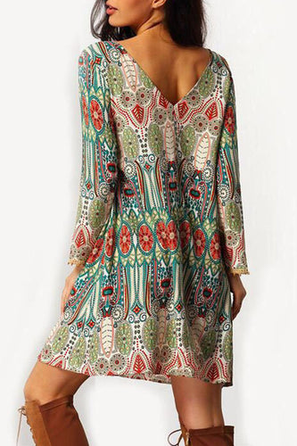 Round Neck Backless Printed Long Sleeve Casual Dresses