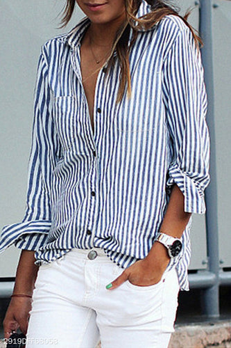 Turn Down Collar  Single Breasted  Striped Shirts