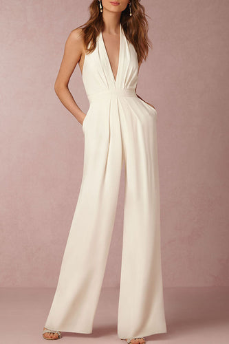 Halter  Backless Zipper   Jumpsuits