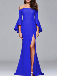 Off Shoulder High Slit Bell Sleeve Evening Dress