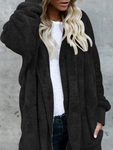 Hooded  Slit Pocket  Plain Outerwear Cardigans