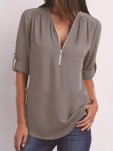 V-Neck  Zips  Plain  Roll-Up Sleeve  Long Sleeve Blouses