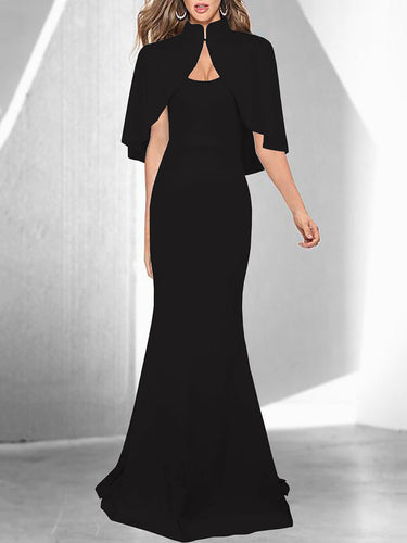 Band Collar Cape Sleeve Mermaid Evening Dress