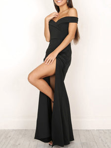 Collarless  Slit  Plain Evening Dresses