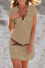 V Neck  Hollow Out Plain   Casual Dresses