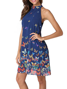 Halter  Print  Sleeveless Casual Dresses