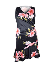 Surplice  Floral Plus Size Bodycon Dress