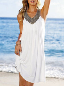 V Neck  Beading  Color Block Shift Dress