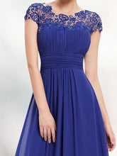 Round Neck Patchwork Ruched  Hollow Out Evening Dress