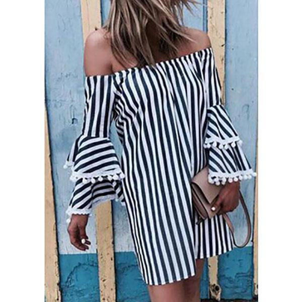 Off Shoulder  Striped  Bell Sleeve   Casual Dresses