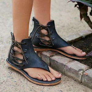 Lace Up PU Flip Flops Sandals