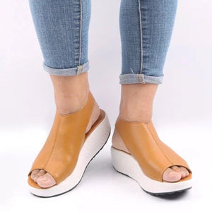 Casual Microfiber Leather Wedge Heel Magic Tape Sandals