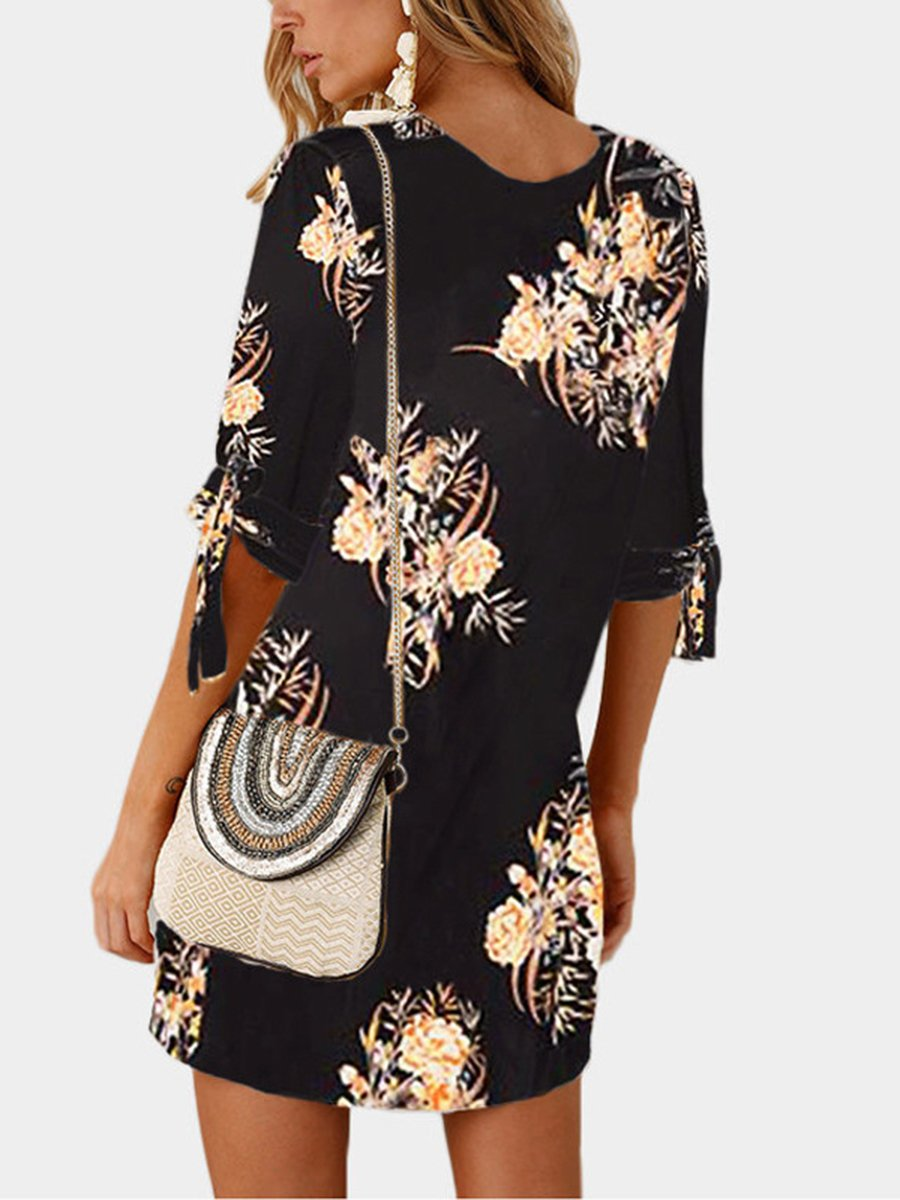 Round neck floral printed shift dress clothing the sims