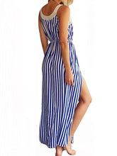 Lace Splicing Elastic Waist Striped Maxi Dress