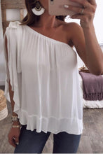 One Shoulder  Backless  Casual T-Shirts