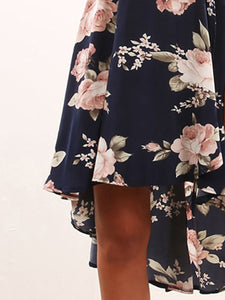 V-Neck Floral Printed High-Low Sleeveless Skater Dress