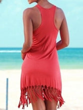 Round Neck  Fringe  Shift Dress